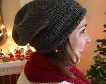 Slouchy Hat, Hand Knit, Dark Grey, Evergreen