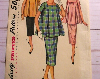Retro Maternity 2 pc Dress | Misses 14 bust 32 | Simplicity 1487 | cut used complete original vintage 1950's sewing pattern