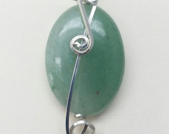 Green Aventurine Pendant Sterling Silver Unique