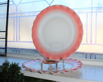 "2 Crinoline Pink and White 9"" Dinner Plates Hazel Atlas Vintage 1950s"
