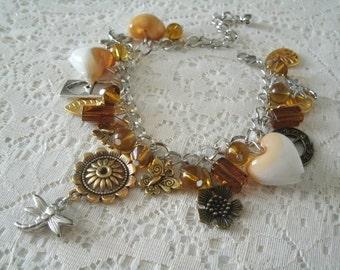 Bohemian Charm Bracelet, boho jewelry bohemian jewelry hippie jewelry gypsy jewelry hipster new age victorian steampunk boho bracelet