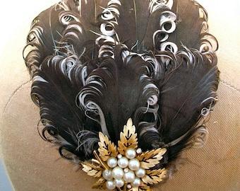 Coffee, with Cream and Sugar- Vintage Plume Headband