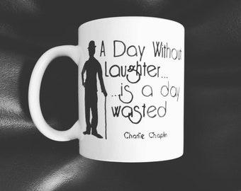 Hand painted mug inspired by Charlie Chaplin