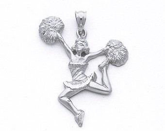 Sterling Silver Cheerleader Pendant.