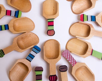 Handmade Wooden Scoops for Coffee, Tea, Bath Salts