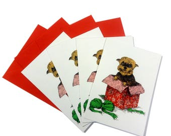 Yorkshire Terrier in a Gift Dog Christmas Cards Set of 4