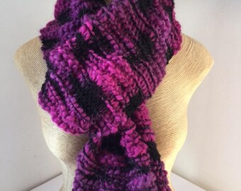 Pretty pink/black scarf, hand knitted