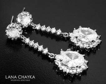 Cubic Zirconia Bridal Earrings Crystal Silver Wedding Earrings CZ Chandelier Sparkly Earrings Bridal Vintage Style Earrings Prom Earrings