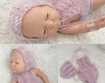 Newborn size knit cable atotch romper,bonnet, photo prop,gift,coming home,bonnet,alpaca blend