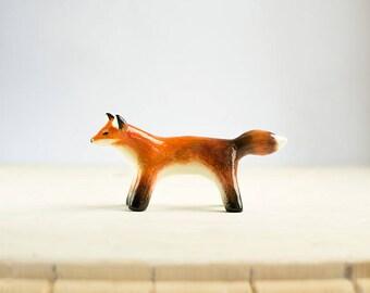 Animal Totem Red Fox, fox totem tiny figurine, orange home decor, tiny pocket zoo, orange and white