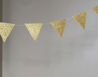 Gold Glitter Triangle Garland, Wedding Banner, Bridal Shower Garland, Gold Decorations, 50th Birthday Decorations
