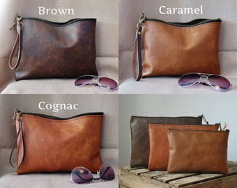 Leather zipper clutch, leather clutch bag, brown leather clutch, 3 colors, leather zipper pouch