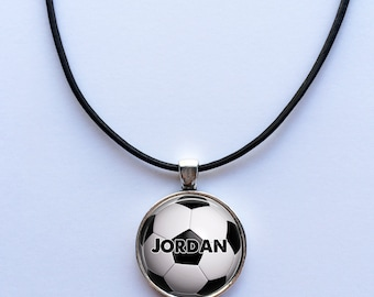 PERSONALIZED SOCCER BALL Name Necklace - custom Soccer pendant - Custom Name - soccer - Futbol - jewelry for boys -teen boy gift