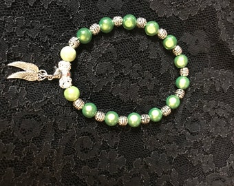 Green & antique silver elastic  bracelet