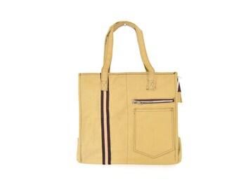 "Vintage Tan Tote with Brown Stripe and ""Back Pocket"" Khaki Design"
