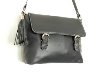 Grey leather messenger laptop bag , Leather satchel , Grey Leather crossbody bag, Grey leather shoulder bag, Men's messenger bag, Laptop bag