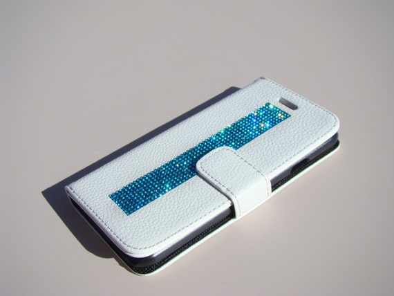 """iPhone 6 / 6s 4.7"""" Aquamarine Blue Rhinestone Crystals, White Wallet Case. Velvet/Silk Pouch bag Included, Genuine Rangsee Crystal Cases."""