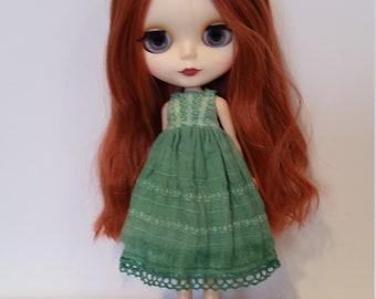 Blythe Dress – Green - OOAK - Hand Dyed and Embroidered – Boho/vintage/shabby chic inspired.