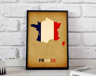 France poster France art France Map poster France print wall art France wall decor Gift poster