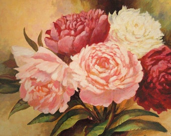 Oil Painting, Wall Decor, Floral Wall Art, Peony Flowers