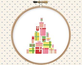 Christmas gift cross stitch - christmas tree cross stitch - present cross stitch - cross stitch pattern - pattern pdf - holiday cross stitch
