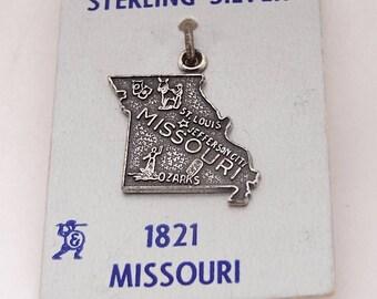 Sterling Silver 1821 Missouri Charm on Original Card – New Old Stock – Sterling Silver Charm – State Charm - NOS Charm - Vintage Charm