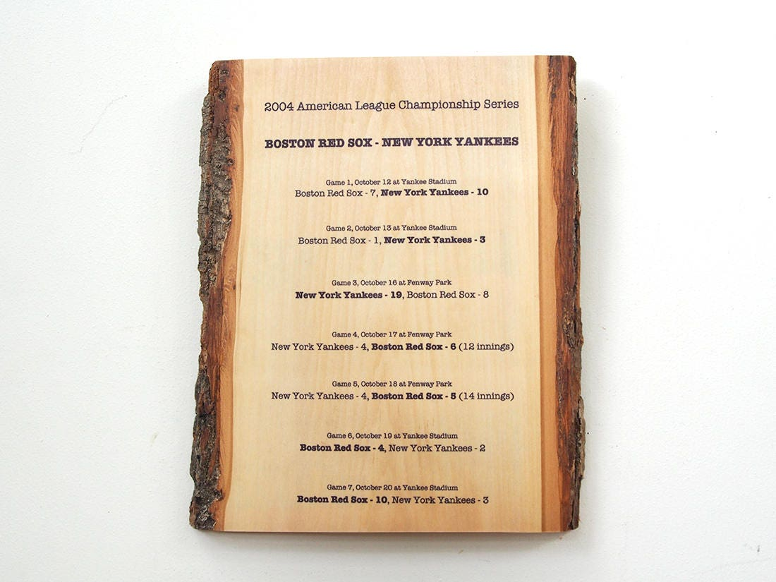 Boston Red Sox Beating Yankees in 2004 Series Rustic Wooden
