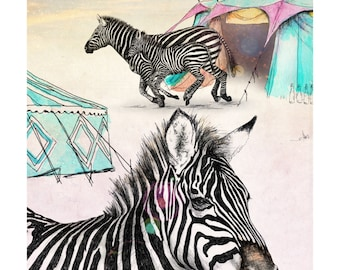 A Camouflaged Escape | A5 prints | Alykat Creative Escape from the Circus series | Zebra