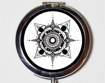 Elemental Mandala Compact Mirror - Elements Spirituality Hippie Spiritual Festival Accessory - Make Up Pocket Mirror for Cosmetics