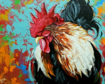 Rooster 830 24x30 inch original animal portrait oil painting by Roz