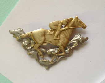 Gallant Race Horse Brooch