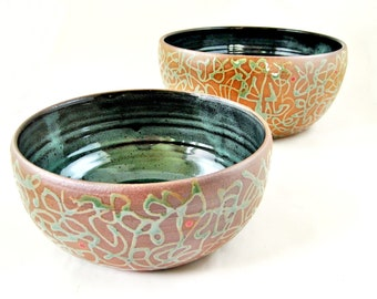 Serving bowl set, Nesting bowl set, Stoneware bowls, Housewarming gift, wedding gift - In stock