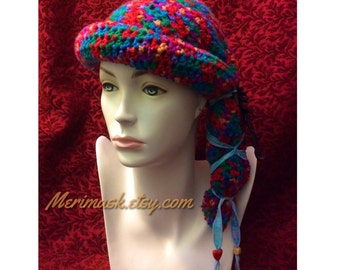 Rainbow Raven Cloche Crocheted Slouch Hat... knit yarn tied soft scarf cap bohemian boho