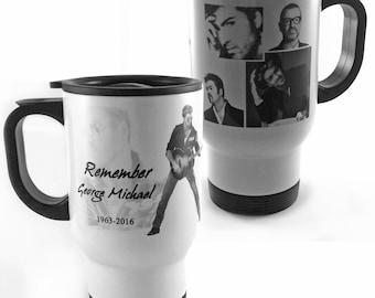 New Remember George Michael 1963-2016 White Stainless Steel Travel Mug Tribute Remember RIP Music Fan Lover Gift Present Memorabilia