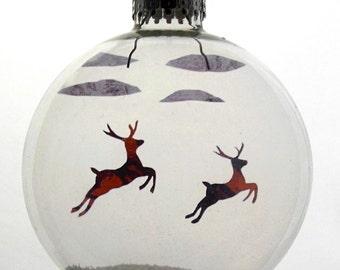 Flying Reindeer Christmas Holiday Ornament