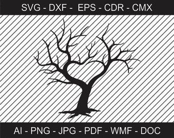 Tree for Wedding Guests - Wedding Tree Clipart - Printable file - Cricut file - Vinyl Cutting files - Laser Cutting and Engraving file