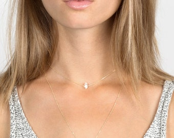 Herkimer Diamond Choker Necklace / 14k Gold fill, Rose Gold, or Sterling Chain / Rough Cut Diamond Choker by Layered and Long LN607_aj