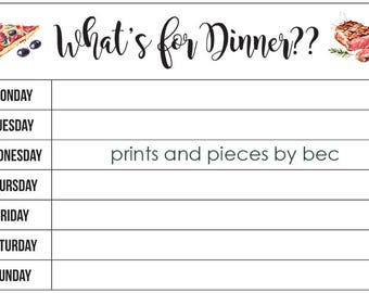 """Weekly Menu """"What's for dinner"""""""