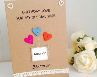 Personalised Birthday Love Handmade Card - Personalised Wife Birthday Card - Personalised Fiancee Birthday Card