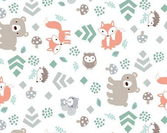 Little Forest from 3 Wishes - Animals with Leaves 22889 Cotton Quilting Fabric Half Yard - Quilt Bundle and Pattern in Bundle Section  - FWM