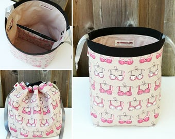 Sock Knitting Bag in Pretty Bras print, two at a time knitting, Knitting Tote, Drawstring Bag, Project Bag - Sock sack