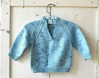 vintage boy's baby toddler clothes blue knitted v-neck sweater
