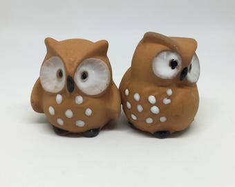 miniature owls, pottery owls, bird figurines, vintage owls, miniature birds, miniature figurine, owl figurines, vintage pottery owls