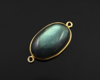 Natural Labradorite Bezel Component, Gold Vermeil,Incredible Blue Fire 19x33mm, 1 Peice, (LABOVCT02-A)
