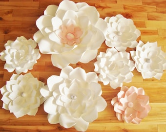 Paper Flowers Set of 8 - Baby Nursery Decor | Wedding Decorations | Paper Flower Wall | Paper Flower Backdrop | Baby Room Decor |