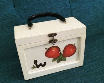Vintage Mid Century Wooden Box Purse with Apples and a Worm