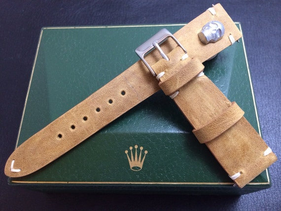 20mm watch band, handmade khaki, beige color vintage Leather Strap, silver Skull metal pin for Rolex, IWC - 18mm/19mm/20mm lug width