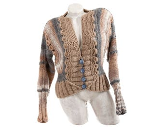 Womens cardigan sweater, Button up vintage wool cardigan, Long sleeve handknit crochet sweater, Warm wool women cardigan Open knit cardigan