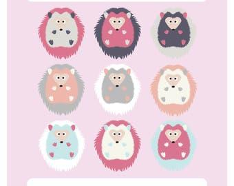 Baby Girl Hedgehog Clipart