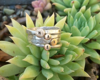 Tiny Brass and Silver Initial Rings-gift idea,christmas present,mothers day,custom,stamped,brass,sterling